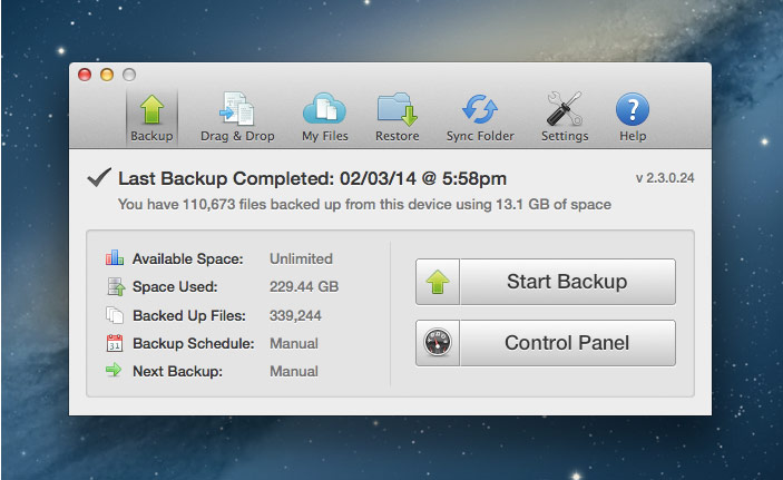 YesBackup's desktop app for Mac